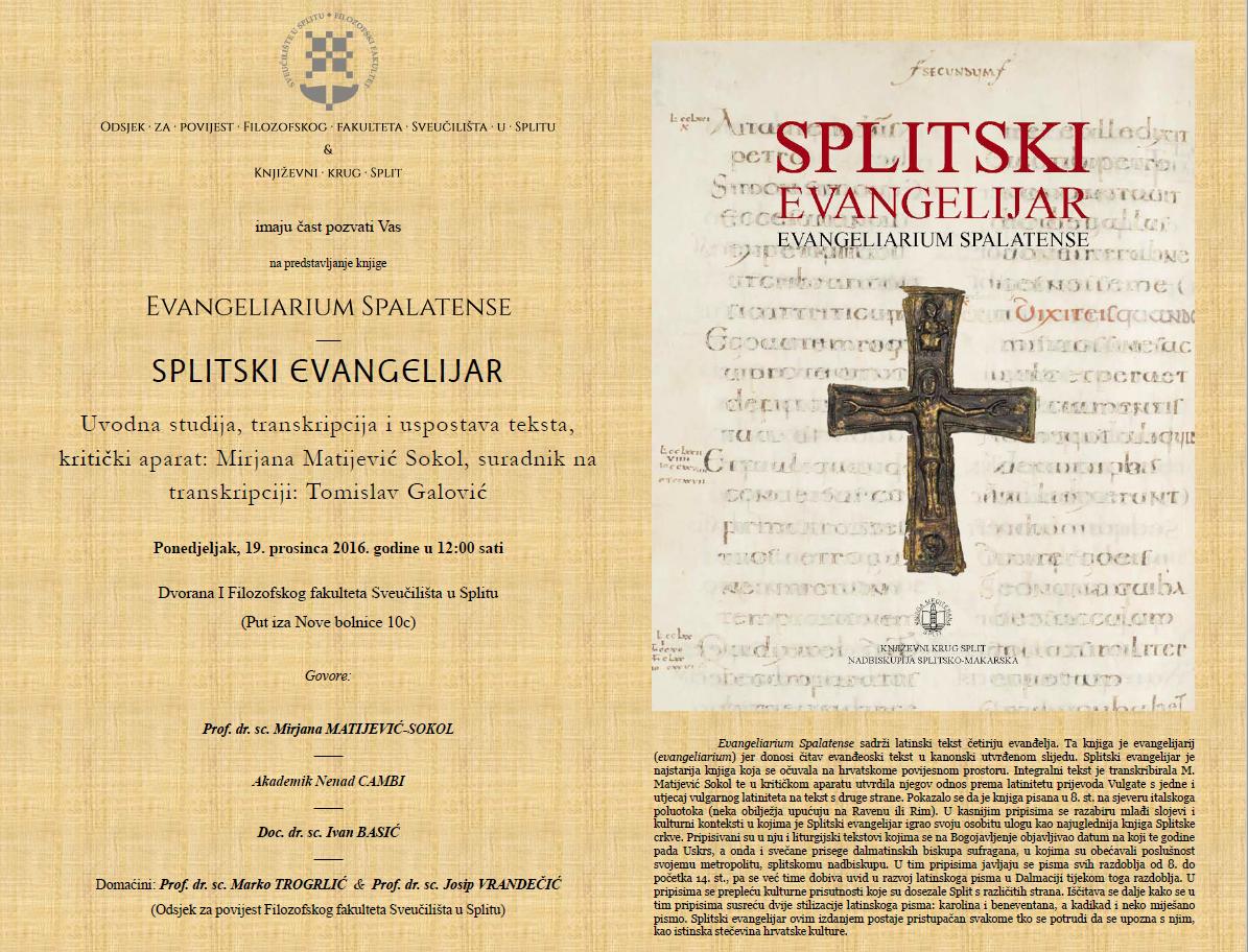 Predstavljanje knjige Splitski evangelijar / Evangeliarium Spalatense