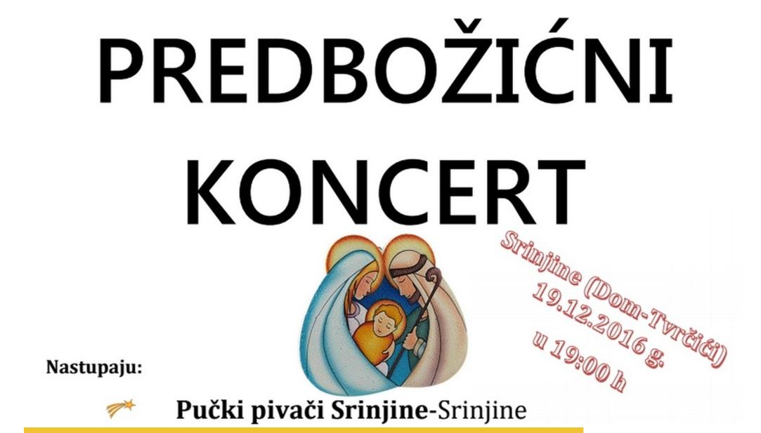 """Udruga """"Cvit Srinjina"""" poziva na """"Predbožićni koncert"""""""