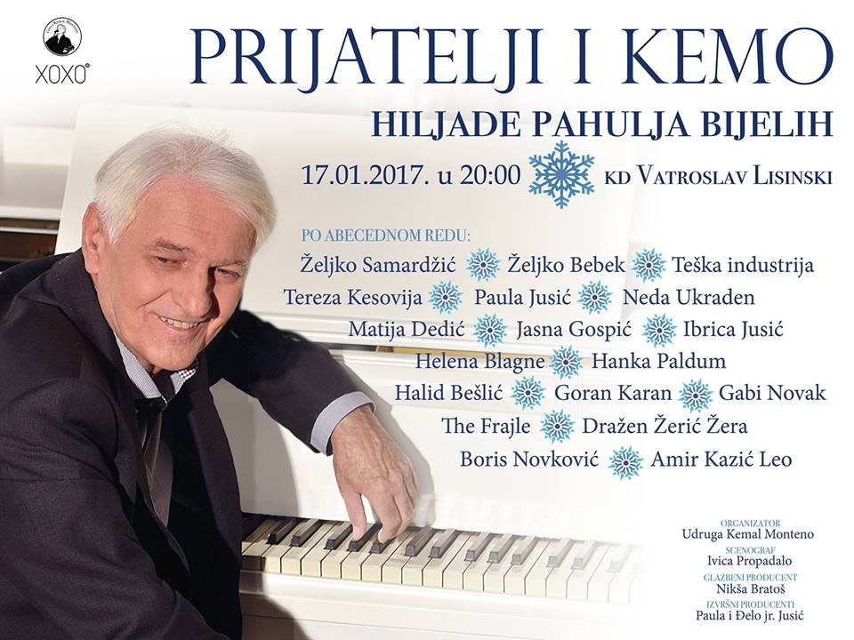 "Zvijezde Hit Recordsa na koncertu u spomen na Kemala Montena – ""Prijatelji i Kemo – Hiljade pahulja bijelih"""