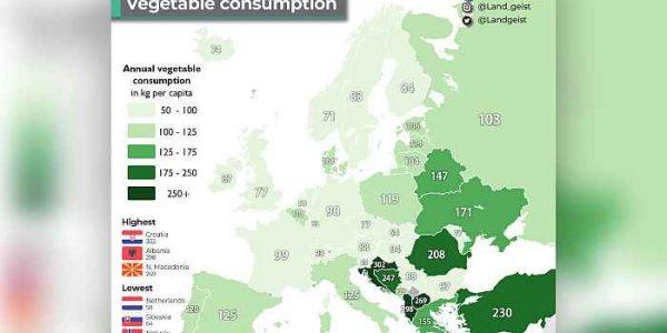 Iznenađujuća statistika – Hrvati na prvom mjestu po konzumaciji povrća u Europi!